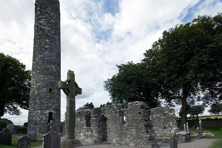 a_high_cross_and_round_tower_at_monasterboice_ireland
